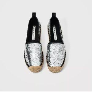 238a69dfba4 Zara Shoes - Zara Silver Sequined Platform Espadrilles Size 7.5